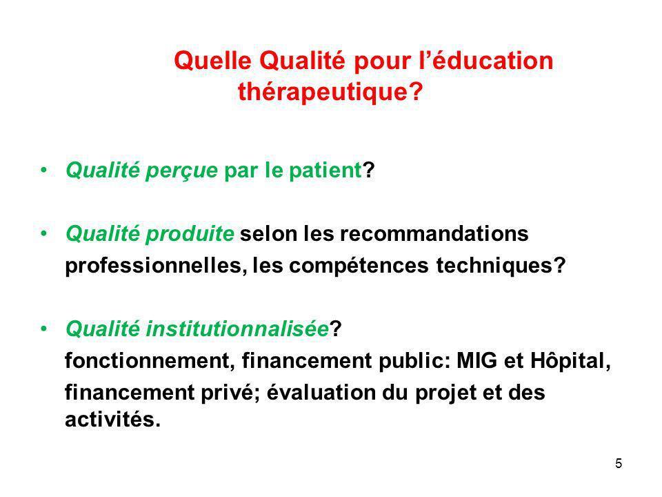 Quelle Qualité pour léducation thérapeutique? Qualité perçue par le patient? Qualité produite selon les recommandations professionnelles, les compéten