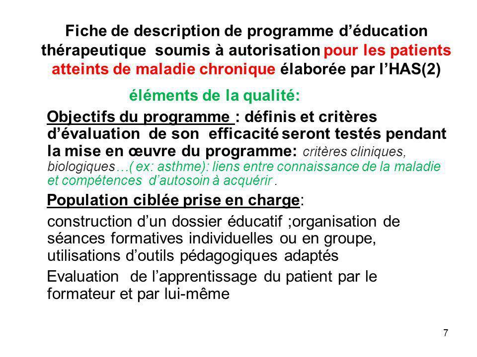 Fiche de description de programme déducation thérapeutique soumis à autorisation pour les patients atteints de maladie chronique élaborée par lHAS(2)