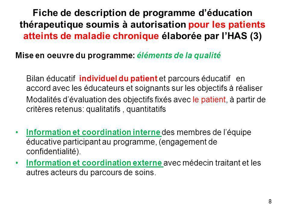 Fiche de description de programme déducation thérapeutique soumis à autorisation pour les patients atteints de maladie chronique élaborée par lHAS (3)