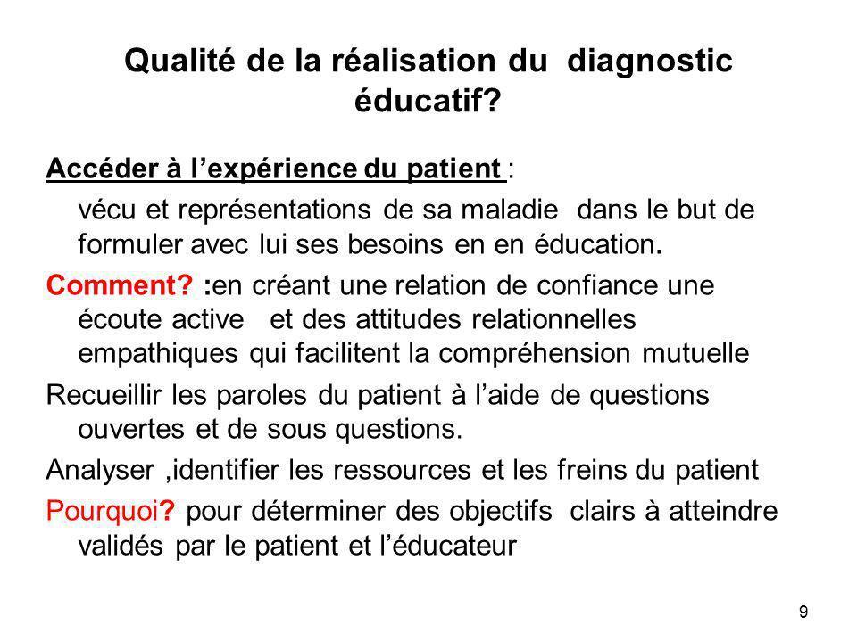 Qualité de la réalisation du diagnostic éducatif? Accéder à lexpérience du patient : vécu et représentations de sa maladie dans le but de formuler ave