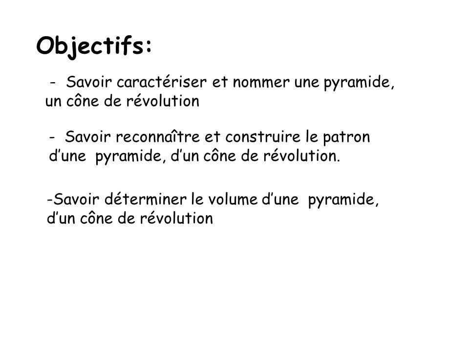 Objectifs: - Savoir caractériser et nommer une pyramide, un cône de révolution - Savoir reconnaître et construire le patron dune pyramide, dun cône de