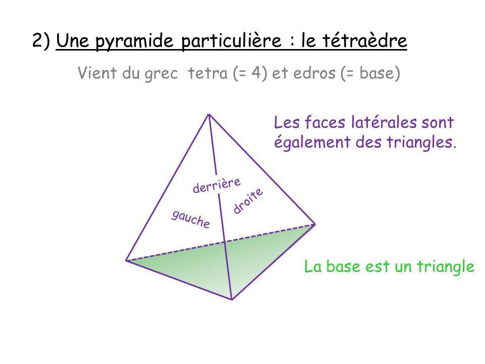 2) Une pyramide particulière : le tétraèdre Vient du grec tetra (= 4) et edros (= base) La base est un triangle Les faces latérales sont également des