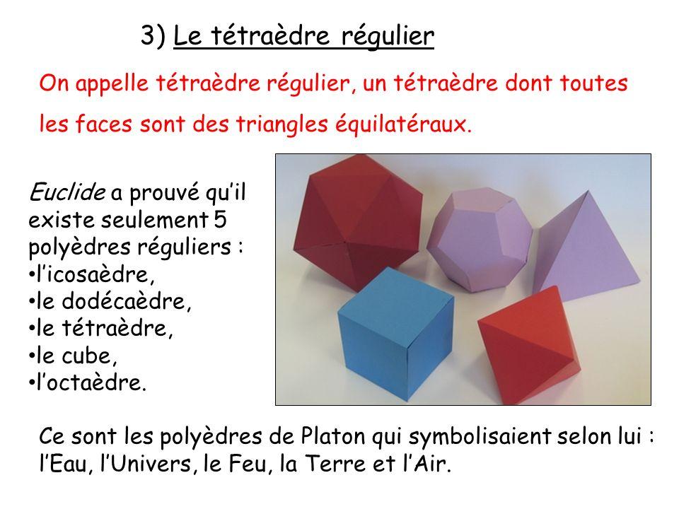 3) Le tétraèdre régulier On appelle tétraèdre régulier, un tétraèdre dont toutes les faces sont des triangles équilatéraux. Euclide a prouvé quil exis