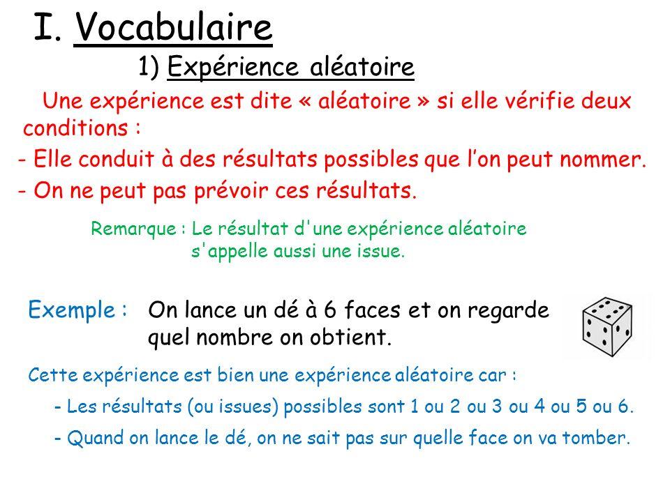 I. Vocabulaire 1) Expérience aléatoire Une expérience est dite « aléatoire » si elle vérifie deux conditions : - Elle conduit à des résultats possible