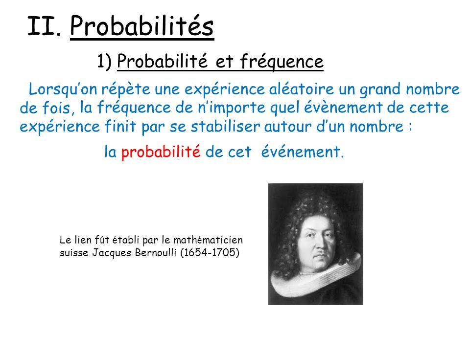 II. Probabilités 1) Probabilité et fréquence Lorsquon répète une expérience aléatoire un grand nombre de fois, la fréquence de nimporte quel évènement