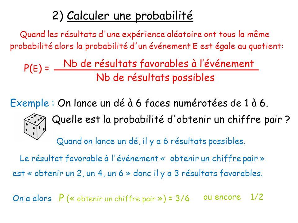 2) Calculer une probabilité Quand les résultats d'une expérience aléatoire ont tous la même probabilité alors la probabilité d'un événement E est égal
