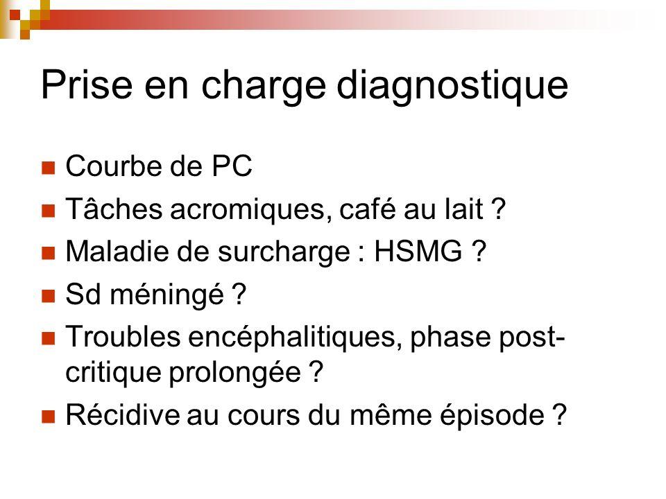 Prise en charge diagnostique Courbe de PC Tâches acromiques, café au lait ? Maladie de surcharge : HSMG ? Sd méningé ? Troubles encéphalitiques, phase