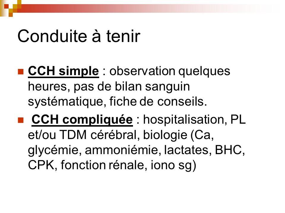 Conduite à tenir CCH simple : observation quelques heures, pas de bilan sanguin systématique, fiche de conseils. CCH compliquée : hospitalisation, PL
