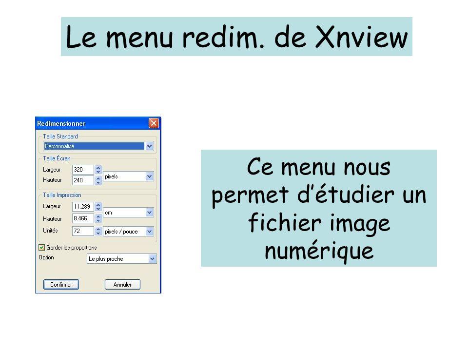 Le menu redim. de Xnview Ce menu nous permet détudier un fichier image numérique