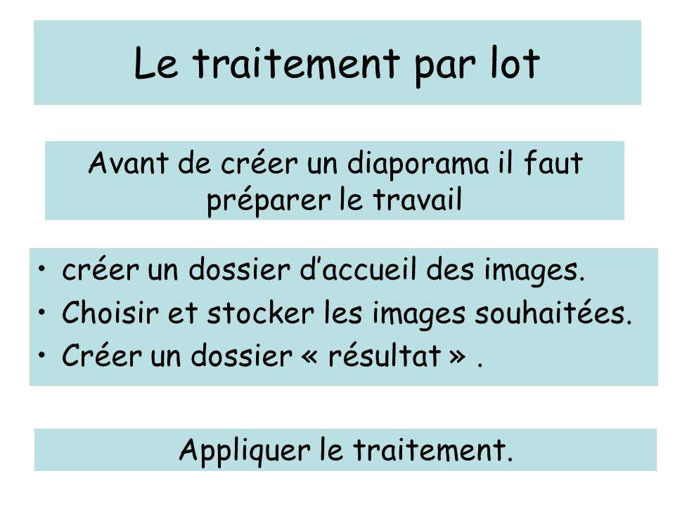 Le traitement par lot créer un dossier daccueil des images.