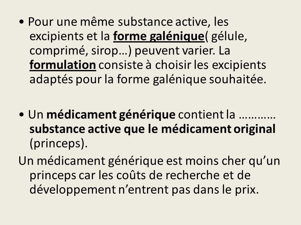 Pour une même substance active, les excipients et la forme galénique( gélule, comprimé, sirop…) peuvent varier. La formulation consiste à choisir les