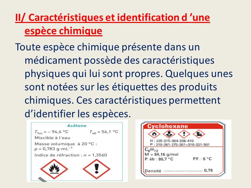 II/ Caractéristiques et identification d une espèce chimique Toute espèce chimique présente dans un médicament possède des caractéristiques physiques
