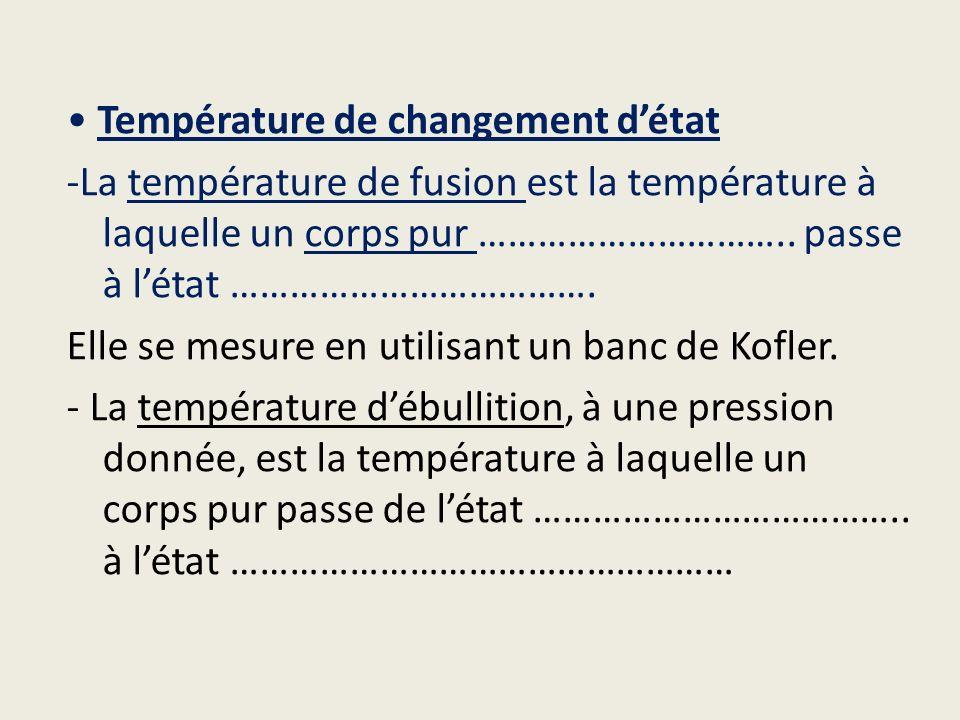Température de changement détat -La température de fusion est la température à laquelle un corps pur ………………………….. passe à létat ………………………………. Elle se