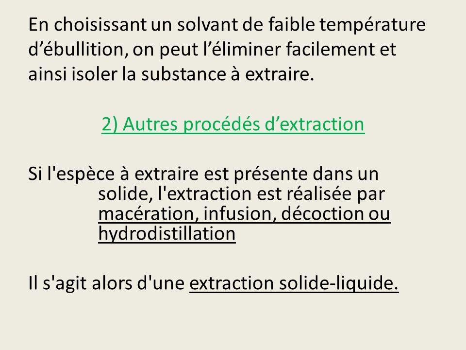 En choisissant un solvant de faible température débullition, on peut léliminer facilement et ainsi isoler la substance à extraire. 2) Autres procédés