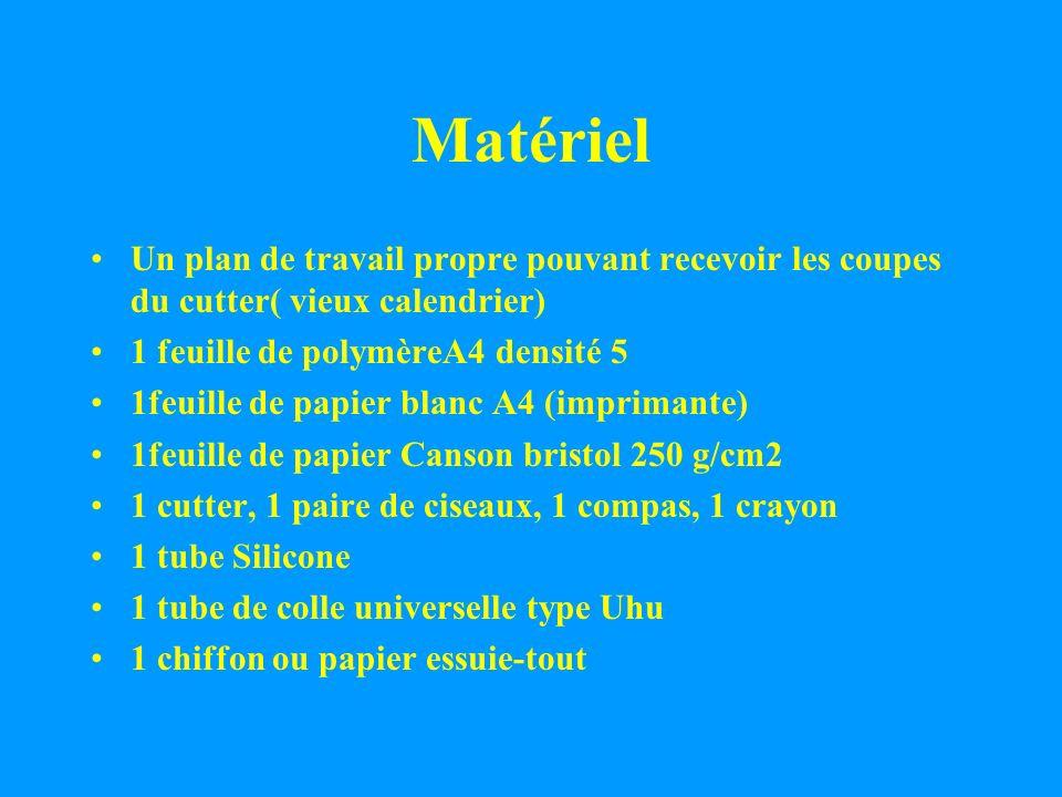 Matériel Un plan de travail propre pouvant recevoir les coupes du cutter( vieux calendrier) 1 feuille de polymèreA4 densité 5 1feuille de papier blanc