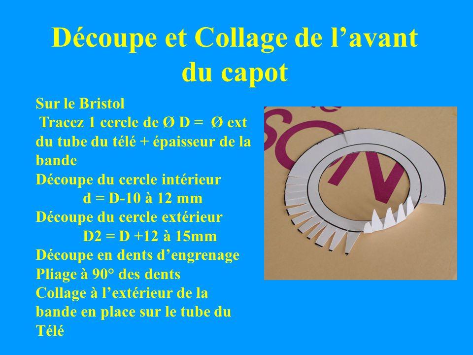 Découpe et Collage de lavant du capot Sur le Bristol Tracez 1 cercle de Ø D = Ø ext du tube du télé + épaisseur de la bande Découpe du cercle intérieu