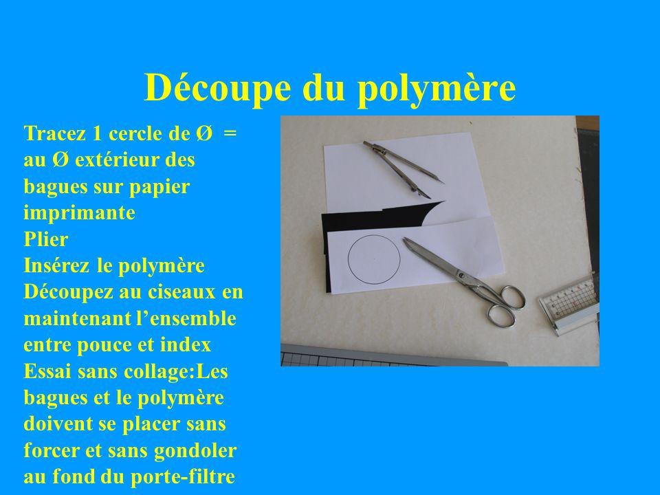 Découpe du polymère Tracez 1 cercle de Ø = au Ø extérieur des bagues sur papier imprimante Plier Insérez le polymère Découpez au ciseaux en maintenant