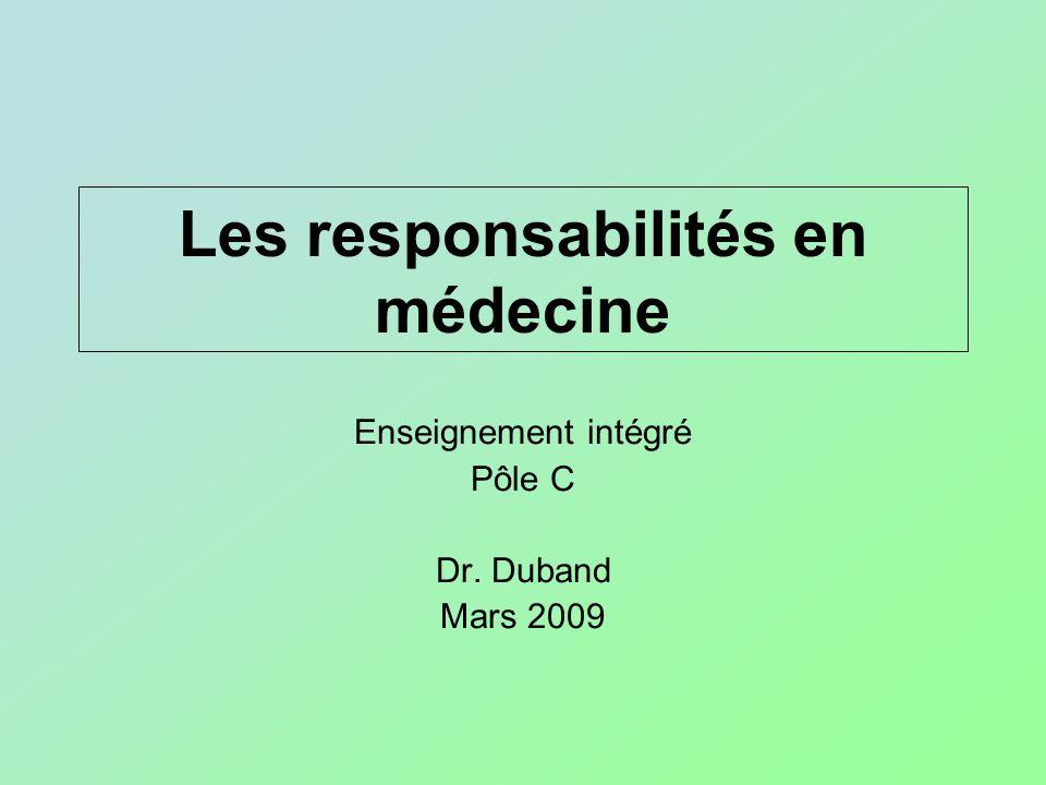 Les responsabilités en médecine Enseignement intégré Pôle C Dr. Duband Mars 2009