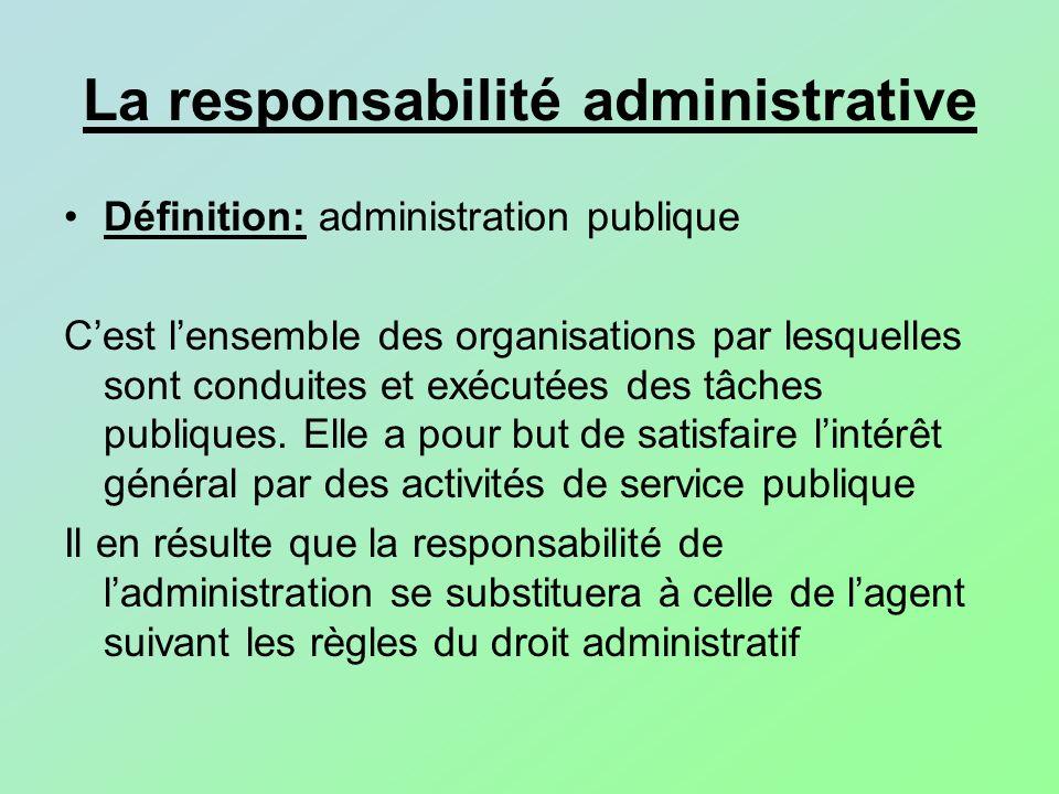 La responsabilité administrative Définition: administration publique Cest lensemble des organisations par lesquelles sont conduites et exécutées des t