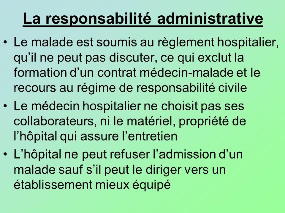 Le malade est soumis au règlement hospitalier, quil ne peut pas discuter, ce qui exclut la formation dun contrat médecin-malade et le recours au régim