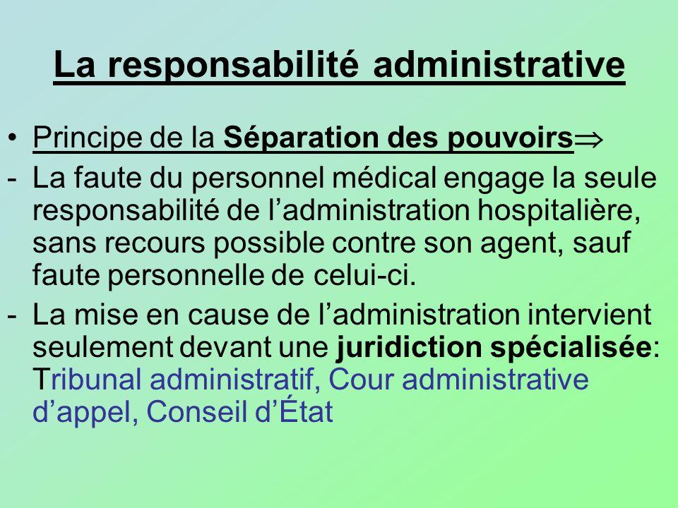 Principe de la Séparation des pouvoirs -La faute du personnel médical engage la seule responsabilité de ladministration hospitalière, sans recours pos