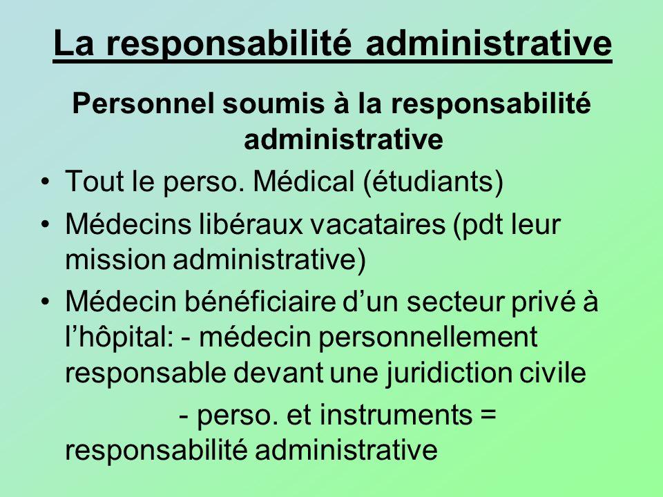 La responsabilité administrative Personnel soumis à la responsabilité administrative Tout le perso. Médical (étudiants) Médecins libéraux vacataires (