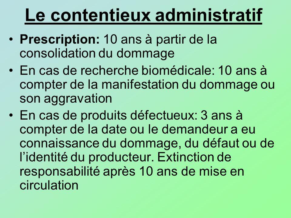 Le contentieux administratif Prescription: 10 ans à partir de la consolidation du dommage En cas de recherche biomédicale: 10 ans à compter de la mani