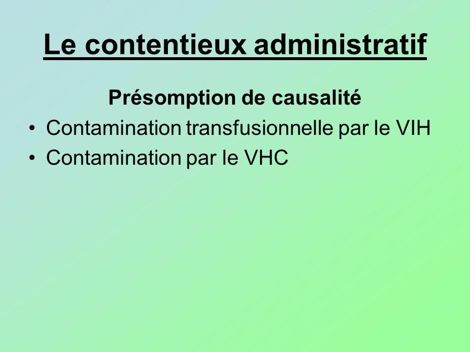 Le contentieux administratif Présomption de causalité Contamination transfusionnelle par le VIH Contamination par le VHC