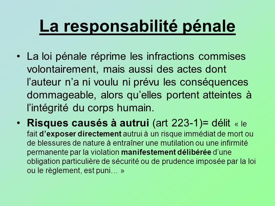 La responsabilité pénale La loi pénale réprime les infractions commises volontairement, mais aussi des actes dont lauteur na ni voulu ni prévu les con