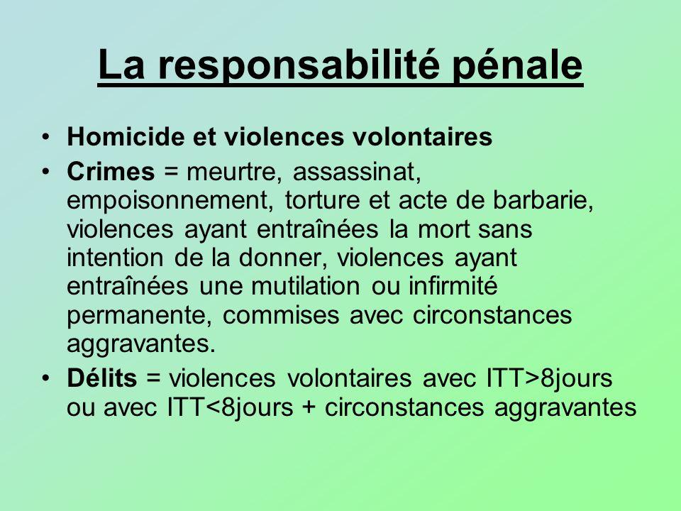 La responsabilité pénale Homicide et violences volontaires Crimes = meurtre, assassinat, empoisonnement, torture et acte de barbarie, violences ayant