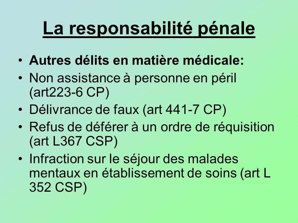 La responsabilité pénale Autres délits en matière médicale: Non assistance à personne en péril (art223-6 CP) Délivrance de faux (art 441-7 CP) Refus d