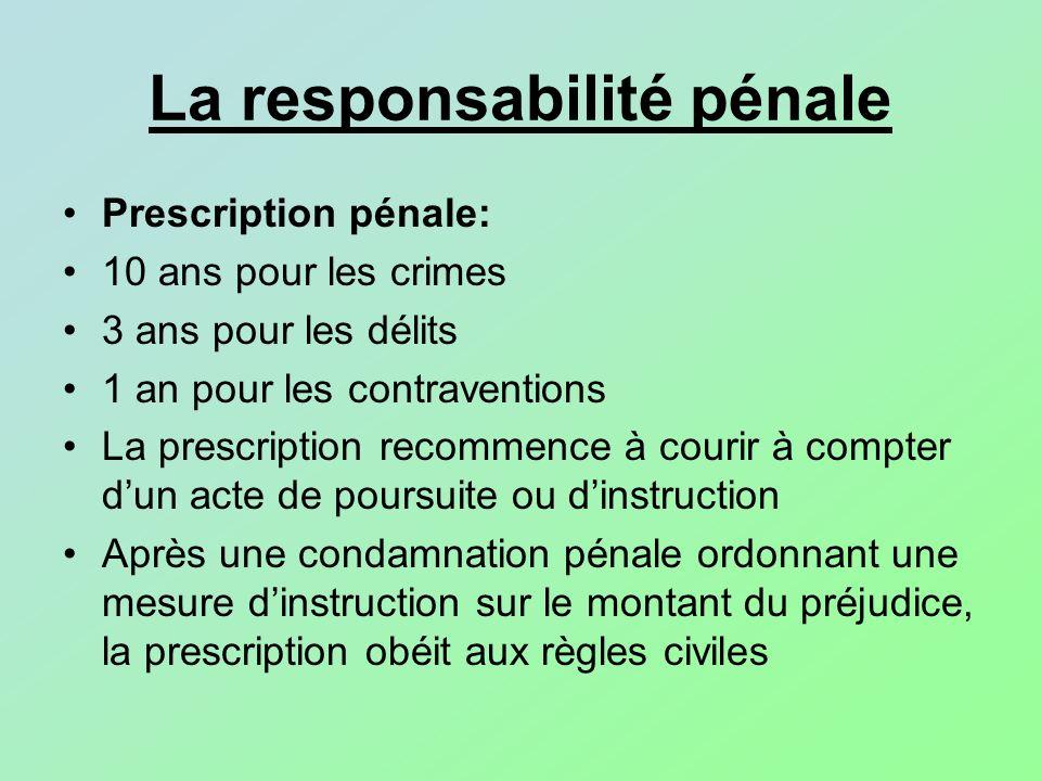 La responsabilité pénale Prescription pénale: 10 ans pour les crimes 3 ans pour les délits 1 an pour les contraventions La prescription recommence à c