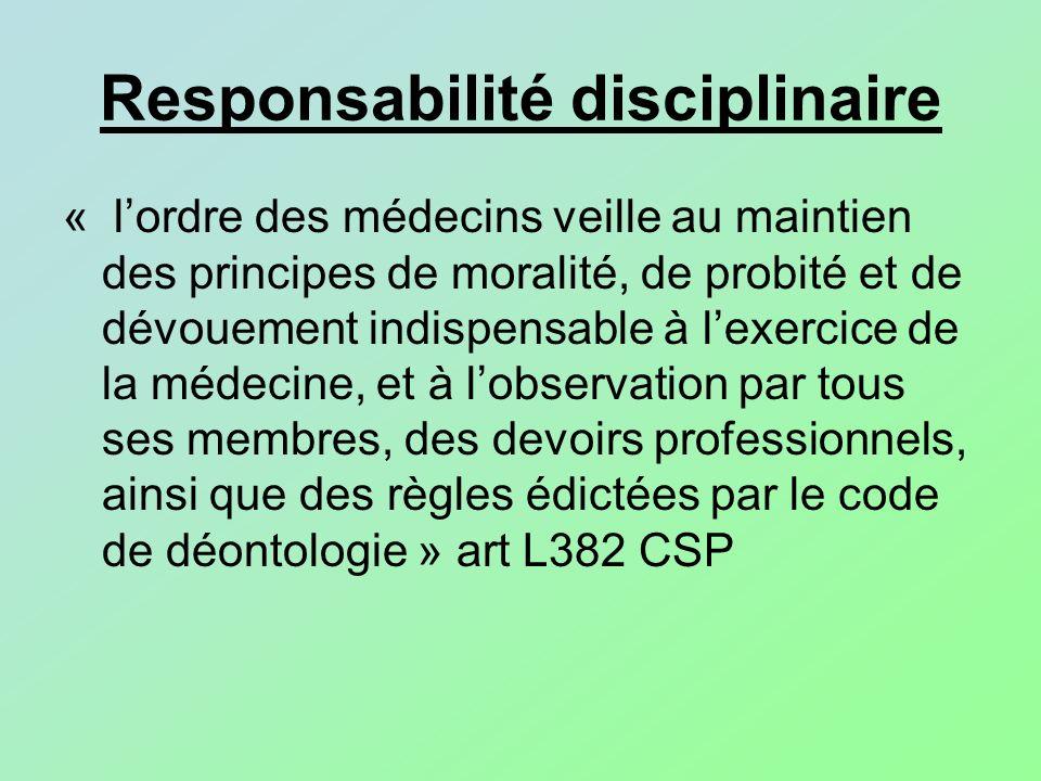 Responsabilité disciplinaire « lordre des médecins veille au maintien des principes de moralité, de probité et de dévouement indispensable à lexercice