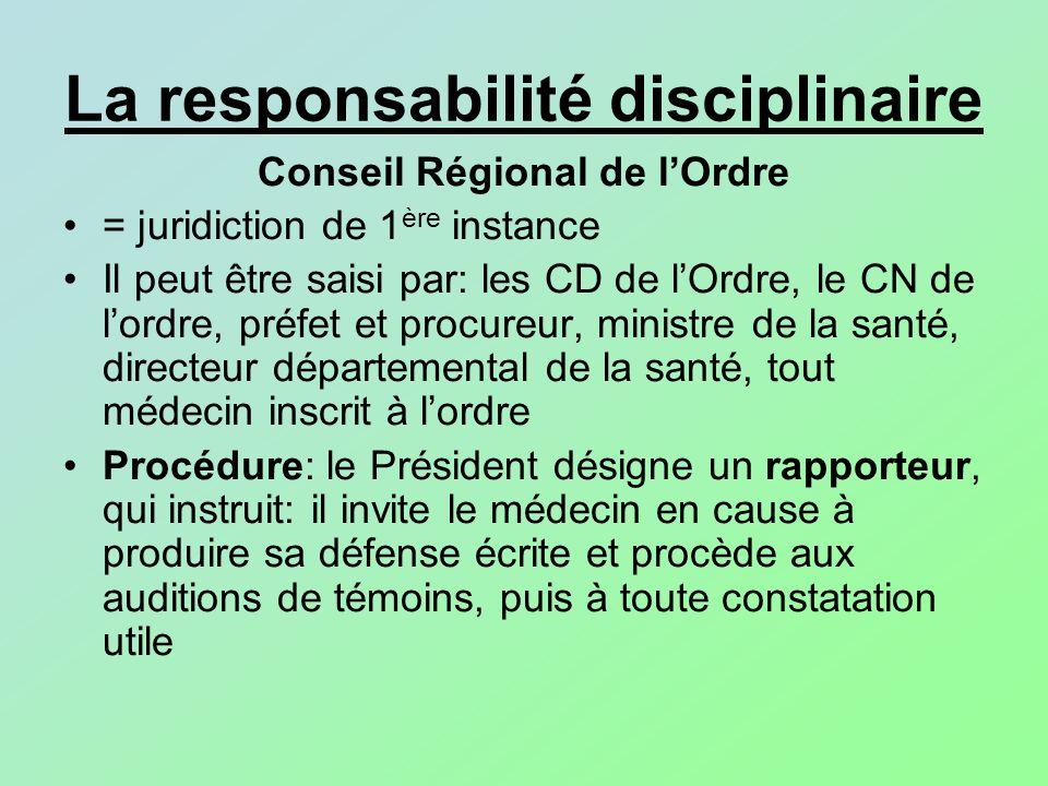 La responsabilité disciplinaire Conseil Régional de lOrdre = juridiction de 1 ère instance Il peut être saisi par: les CD de lOrdre, le CN de lordre,