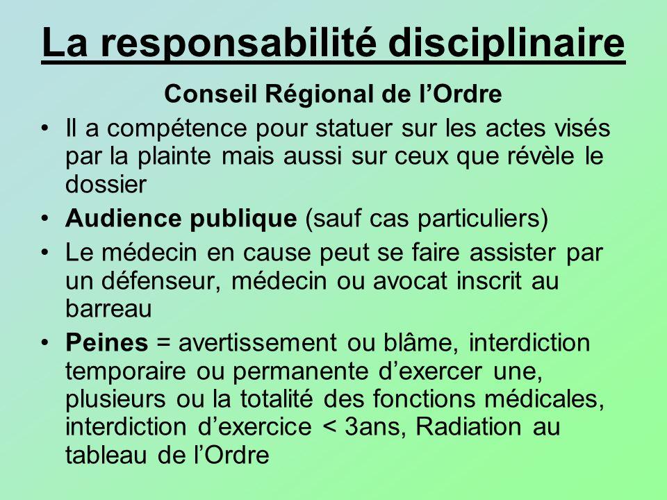 La responsabilité disciplinaire Conseil Régional de lOrdre Il a compétence pour statuer sur les actes visés par la plainte mais aussi sur ceux que rév