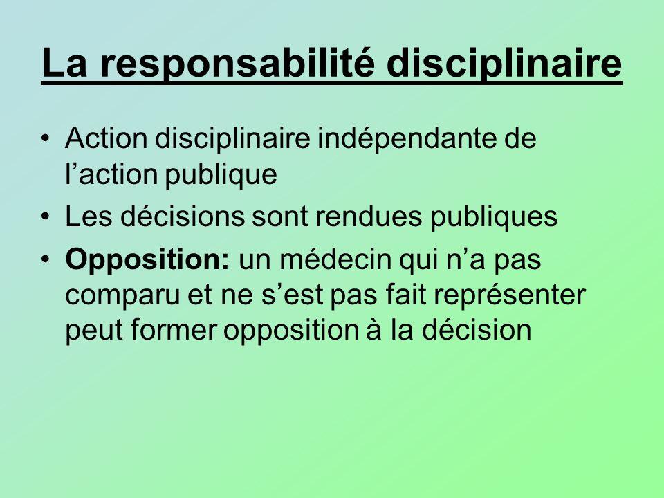 La responsabilité disciplinaire Action disciplinaire indépendante de laction publique Les décisions sont rendues publiques Opposition: un médecin qui