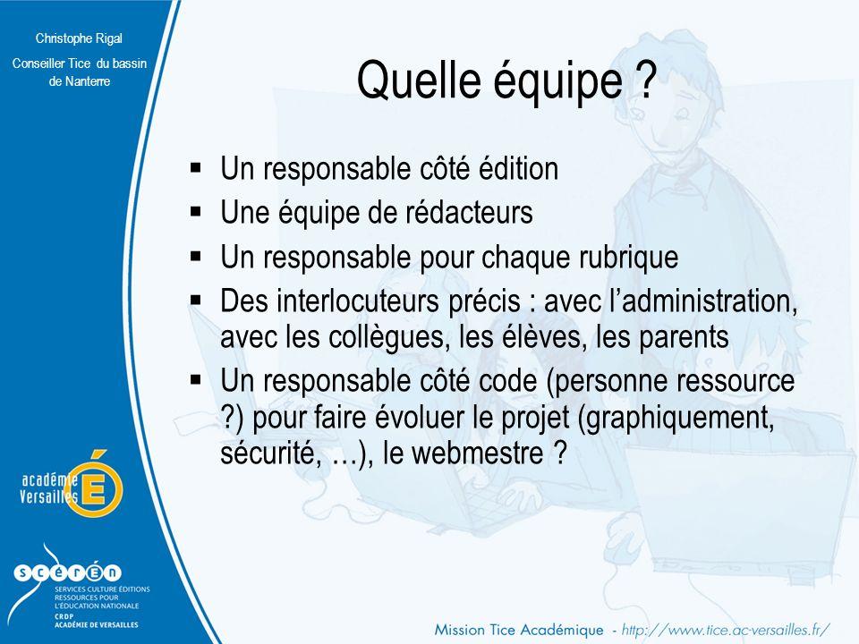 Christophe Rigal Conseiller Tice du bassin de Nanterre Quelles rubriques .