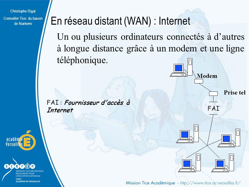 Christophe Rigal Conseiller Tice du bassin de Nanterre En réseau distant (WAN) : Internet Un ou plusieurs ordinateurs connectés à dautres à longue distance grâce à un modem et une ligne téléphonique.