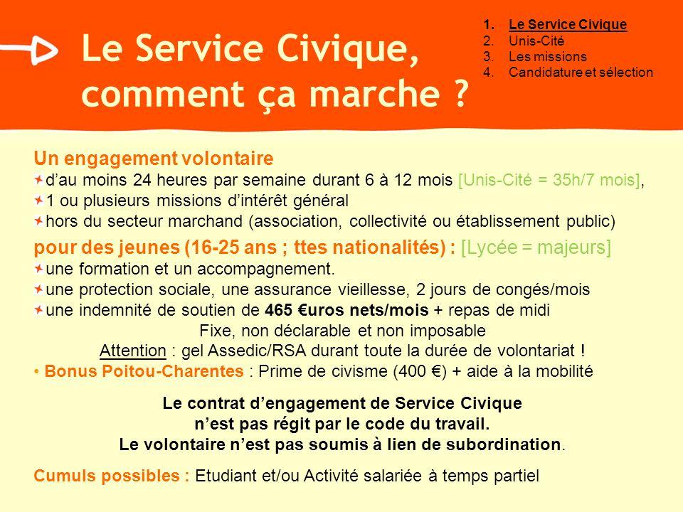 Le Service Civique, comment ça marche ? Un engagement volontaire dau moins 24 heures par semaine durant 6 à 12 mois [Unis-Cité = 35h/7 mois], 1 ou plu
