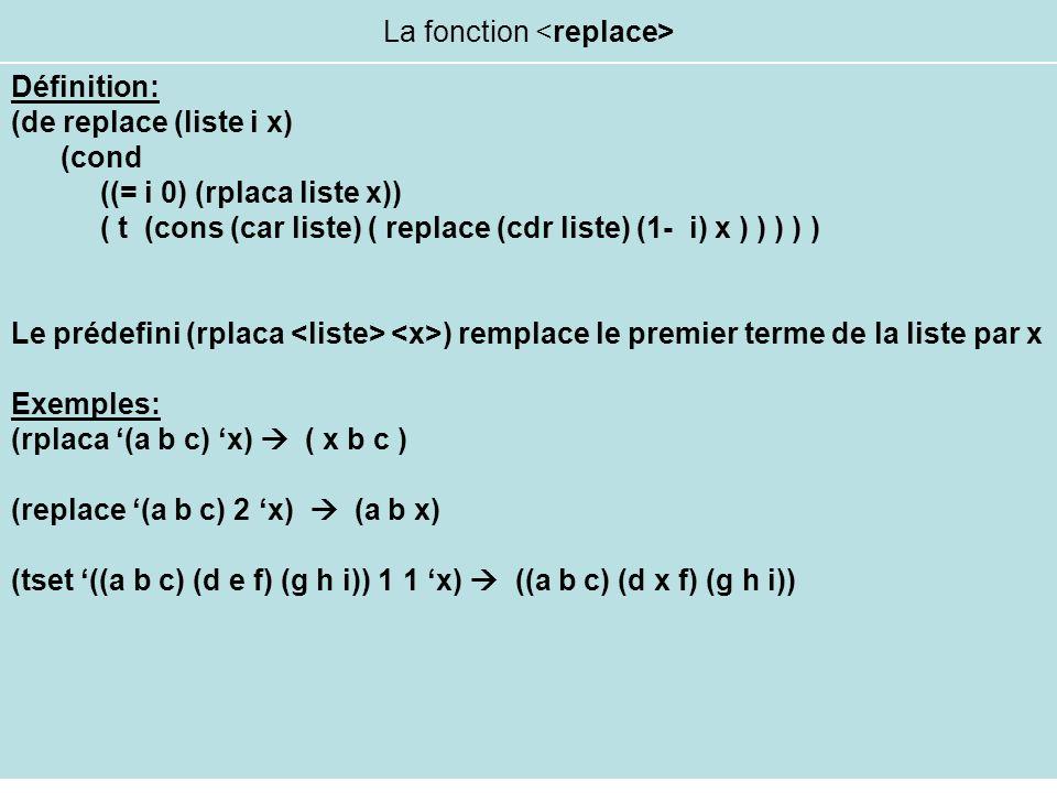 La fonction Définition: (de replace (liste i x) (cond ((= i 0) (rplaca liste x)) ( t (cons (car liste) ( replace (cdr liste) (1- i) x ) ) ) ) ) Le pré