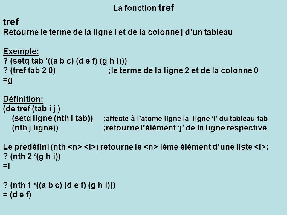 La fonction tref tref Retourne le terme de la ligne i et de la colonne j dun tableau Exemple: ? (setq tab ((a b c) (d e f) (g h i))) ? (tref tab 2 0)