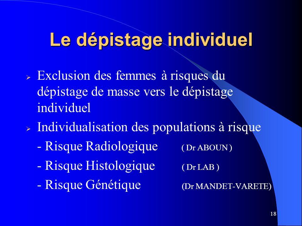 18 Le dépistage individuel Exclusion des femmes à risques du dépistage de masse vers le dépistage individuel Individualisation des populations à risqu