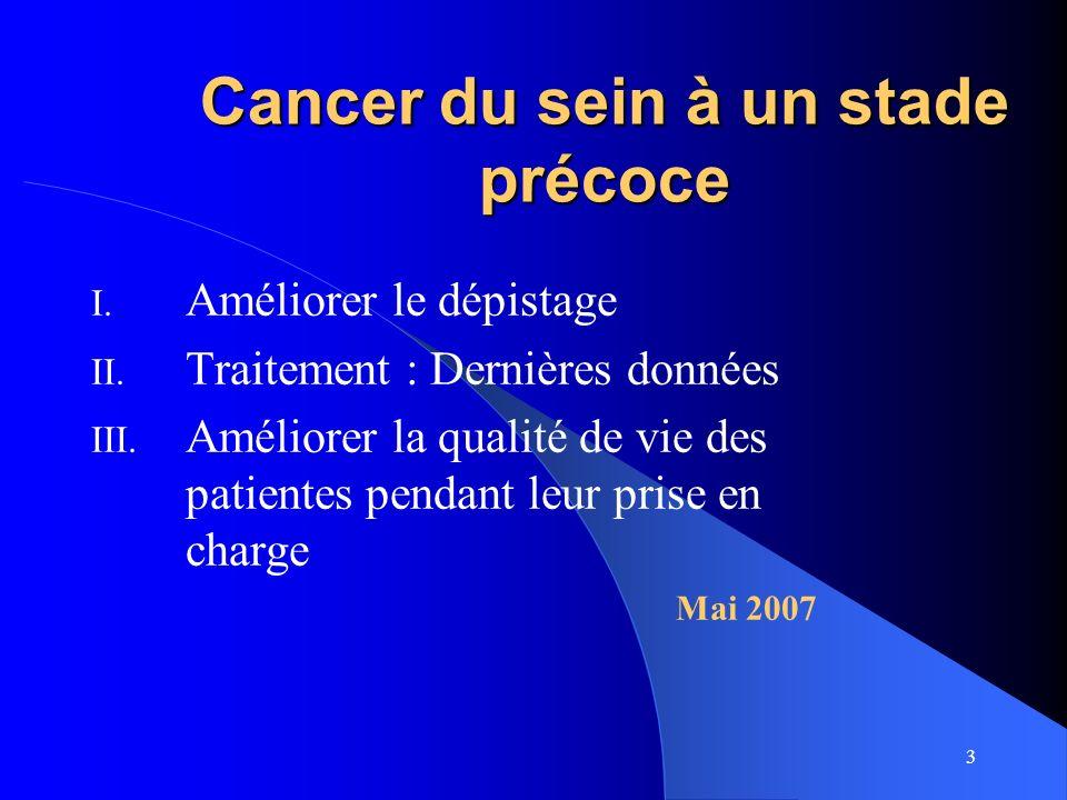 3 Cancer du sein à un stade précoce I. Améliorer le dépistage II. Traitement : Dernières données III. Améliorer la qualité de vie des patientes pendan
