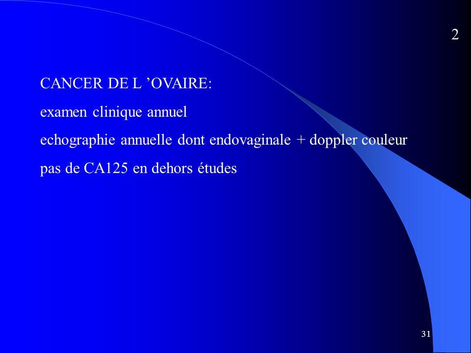 31 CANCER DE L OVAIRE: examen clinique annuel echographie annuelle dont endovaginale + doppler couleur pas de CA125 en dehors études 2