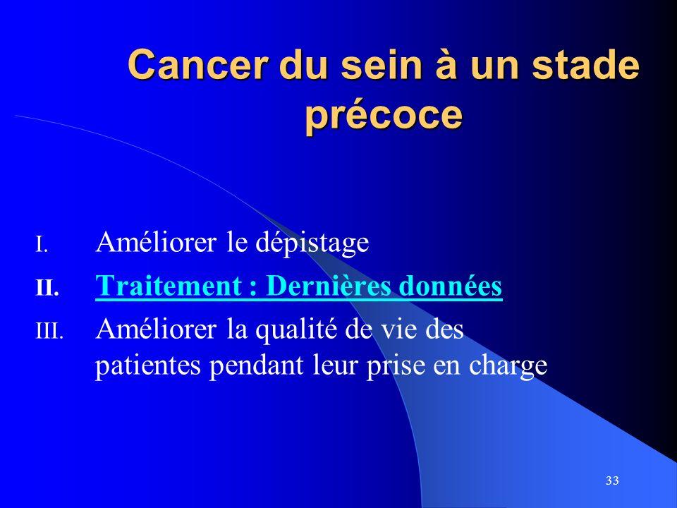 33 Cancer du sein à un stade précoce I. Améliorer le dépistage II. Traitement : Dernières données III. Améliorer la qualité de vie des patientes penda