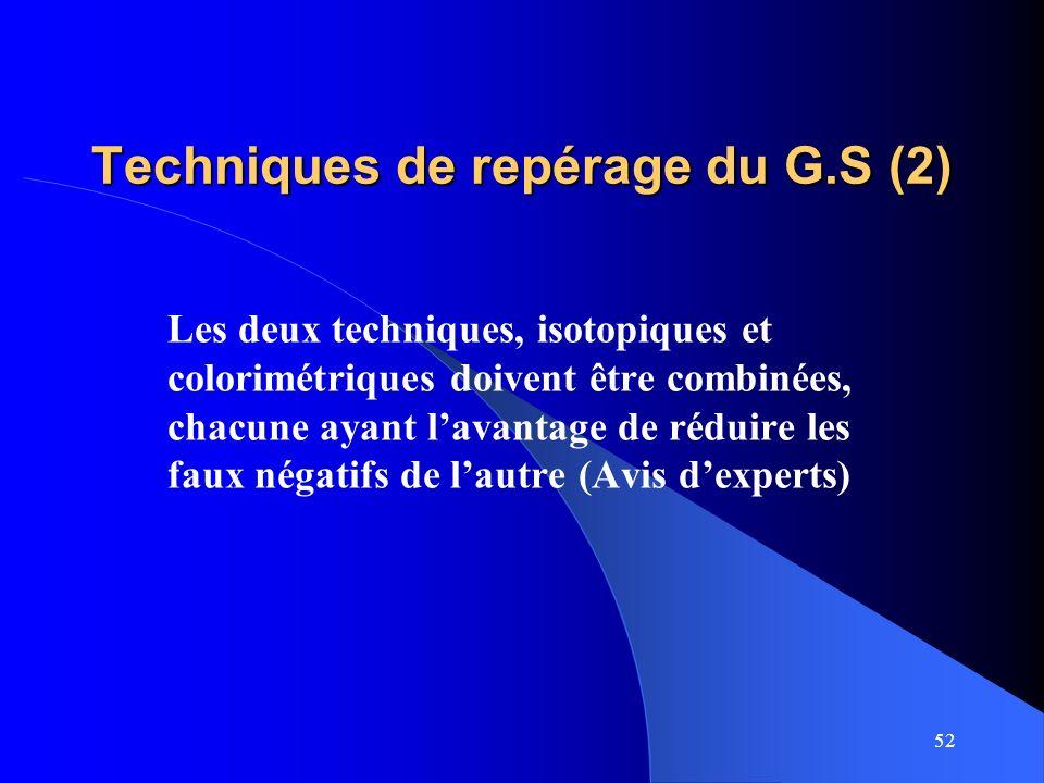 52 Techniques de repérage du G.S (2) Les deux techniques, isotopiques et colorimétriques doivent être combinées, chacune ayant lavantage de réduire le