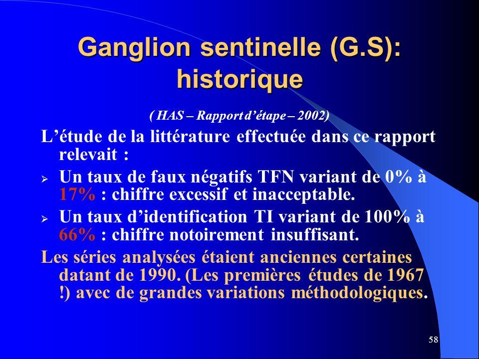 58 Ganglion sentinelle (G.S): historique ( HAS – Rapport détape – 2002) Létude de la littérature effectuée dans ce rapport relevait : Un taux de faux