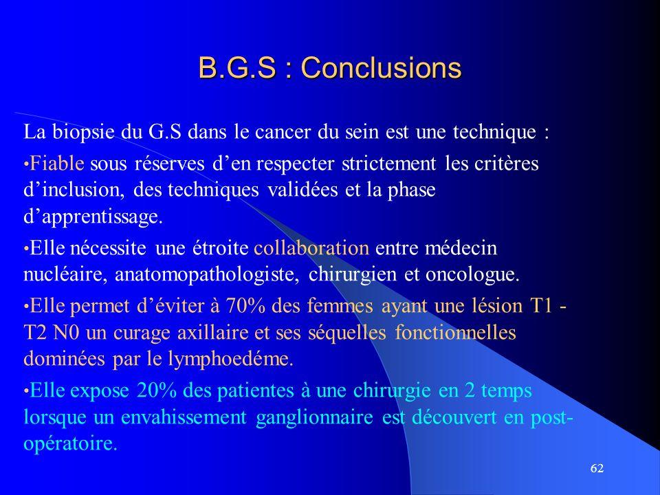 62 B.G.S : Conclusions La biopsie du G.S dans le cancer du sein est une technique : Fiable sous réserves den respecter strictement les critères dinclu