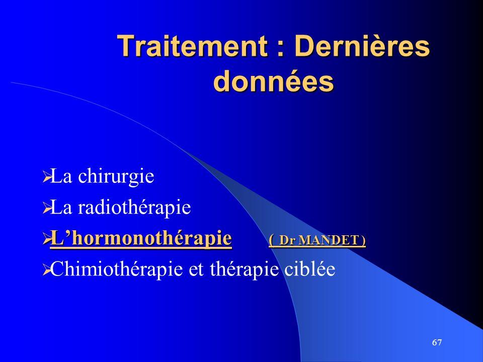 67 Traitement : Dernières données La chirurgie La radiothérapie Lhormonothérapie ( Dr MANDET ) Lhormonothérapie ( Dr MANDET ) Chimiothérapie et thérap