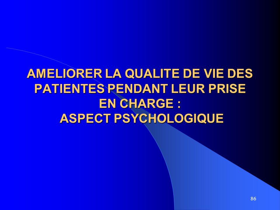 86 AMELIORER LA QUALITE DE VIE DES PATIENTES PENDANT LEUR PRISE EN CHARGE : ASPECT PSYCHOLOGIQUE